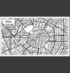 Milan italy city map in black and white color vector
