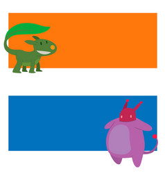 monster character cards funny design vector image