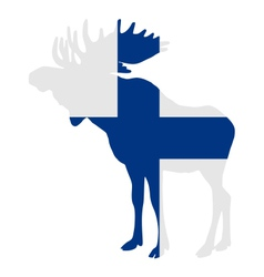 Moose in finnish flag vector