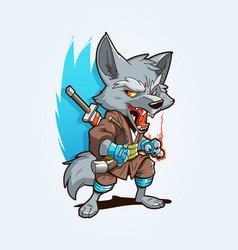 ninja wolf mascot vector image