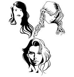 portraits of beautiful women vector image vector image
