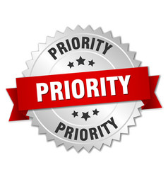 Priority 3d silver badge with red ribbon vector