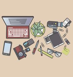 professional journalism top view banner vector image vector image
