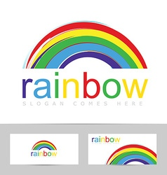 Rainbow brush stroke colorful logo vector