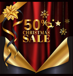 Red gold christmas sale banner background page vector