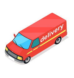 Red truck of delivery cartoon style flat design vector