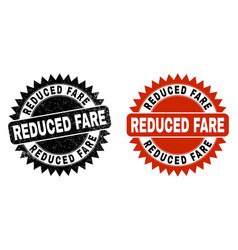Reduced fare black rosette watermark with distress vector