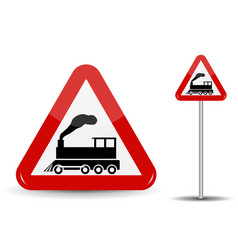 Road sign warning railway crossing without barrier vector