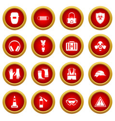 Safety icon red circle set vector