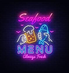 seafood menu neon design seafood menu neon vector image