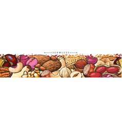 seamless border or pattern with peanuts and cashew vector image