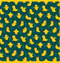 Seamless pattern with cute yellow chickens vector