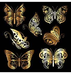 Set gold butterflies vector