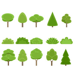 set of trees and shrubs vector image