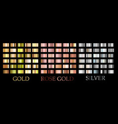 shiny rose gold silver gradient square set vector image