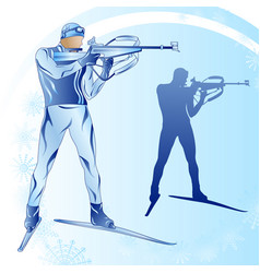 Stylized figure of a biathlonist on a blue vector