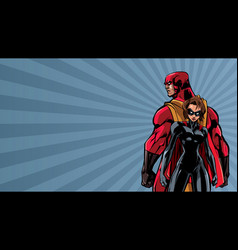 superhero couple ray light background vector image