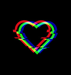 Symbol heart in glitch style icon of vector