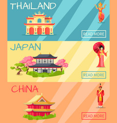 Thailand japan and china types of houses banner vector
