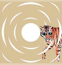 tiger in sunglasses abstract background vector image