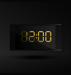 Twelve oclock new year time on mobile phone vector