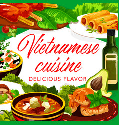 Vietnamese vegetables fish meat dishes vector