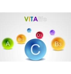 Vitamins colorful balls background vector