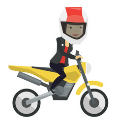 Young asian woman riding motorcycle vector