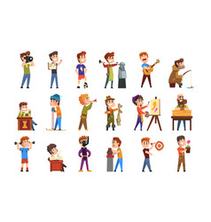 Young teenagers hobby set cartoon kids characters vector