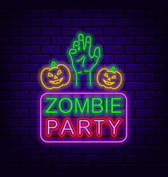 Zombies party neon sign on dark brick background vector