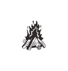 Bonfire retro icon vector