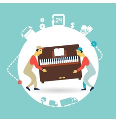 movers carry furniture piano vector image vector image