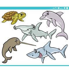 sea life animals set cartoon vector image vector image