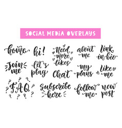 social media hand written lettering collection vector image vector image