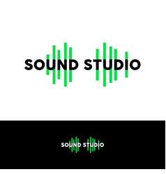 sound studio logo emblem green equalizer vector image vector image