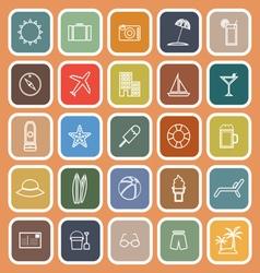 Summer line flat icons on orange background vector image vector image