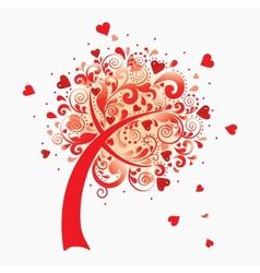 a love tree Valentines postcard vector image vector image