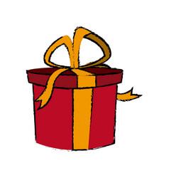 christmas gift box bow ribbon decoration vector image vector image