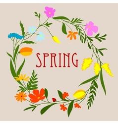 Circular spring floral wreath or frame vector image vector image