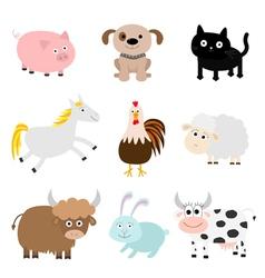 Farm animal set Cock pig dog cat cow rabbit ship vector image vector image