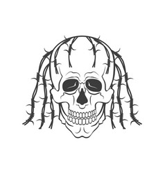 hand drawn skull modern vector image