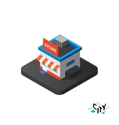 Isometric store icon building city infographic vector image vector image
