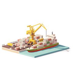 low poly port container terminal and ship vector image vector image