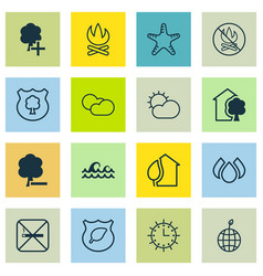 Set of 16 eco-friendly icons includes guard tree vector