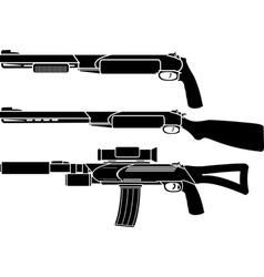 shotgun gun and rifle stencil vector image vector image