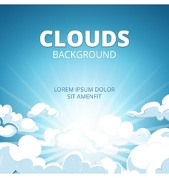 Sunrise in blue sky with clouds background vector image