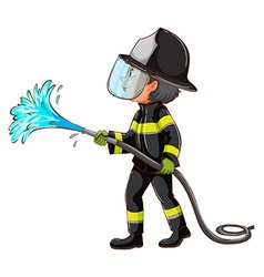 A simple drawing of a fireman holding a hose vector image