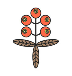 buckthorn flat color icon berry isolated on white vector image