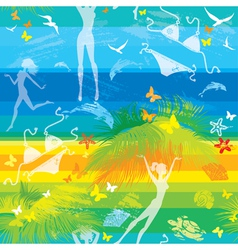 seamless summer beach pattern with people vector image vector image