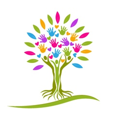 Tree people hands and hearts logo vector image vector image